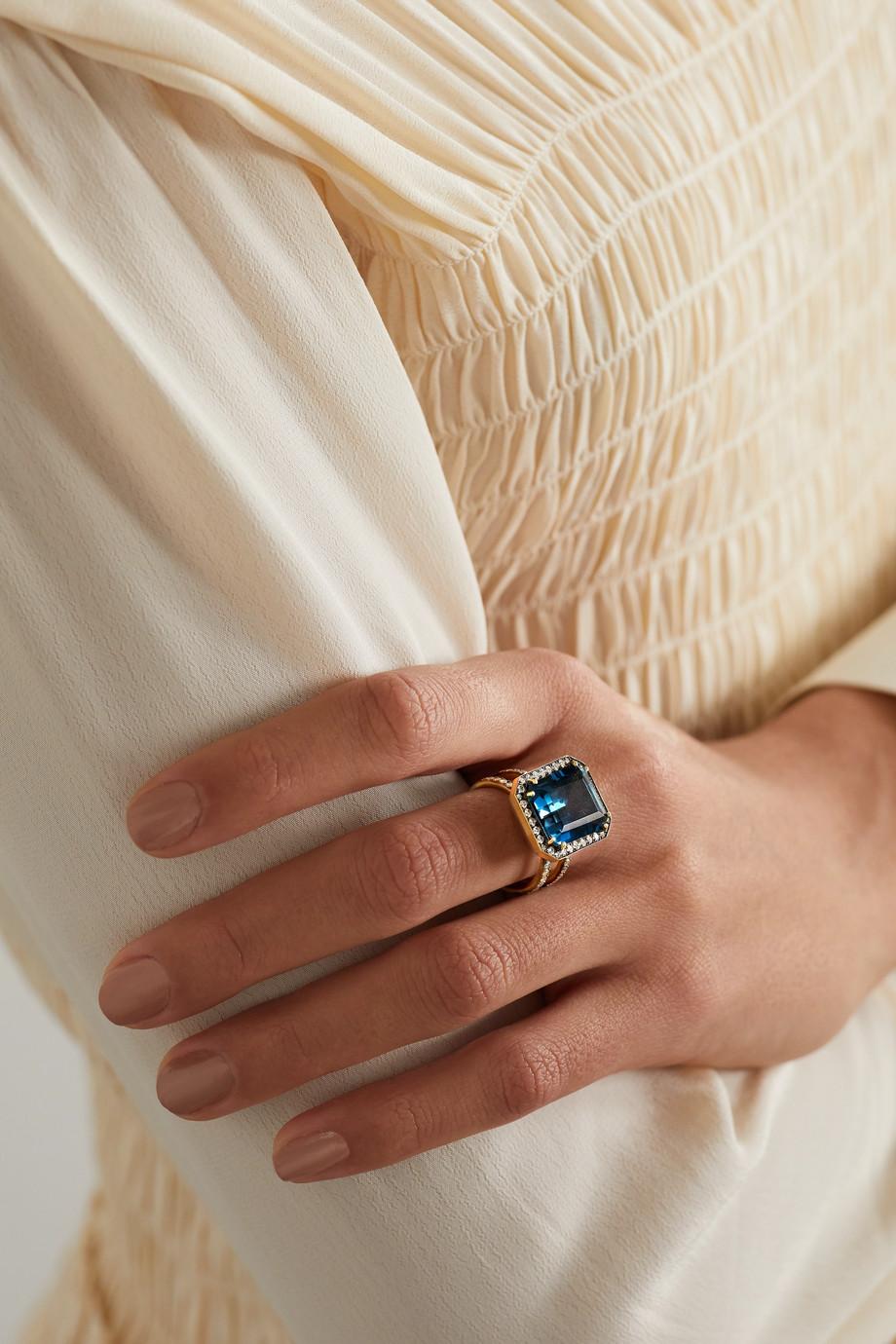 Sylva & Cie 18-karat gold, topaz and diamond ring