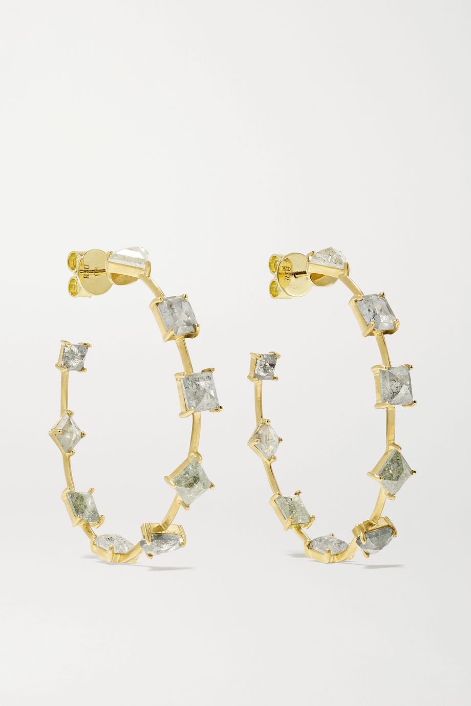 Sylva & Cie 18-karat gold diamond hoop earrings