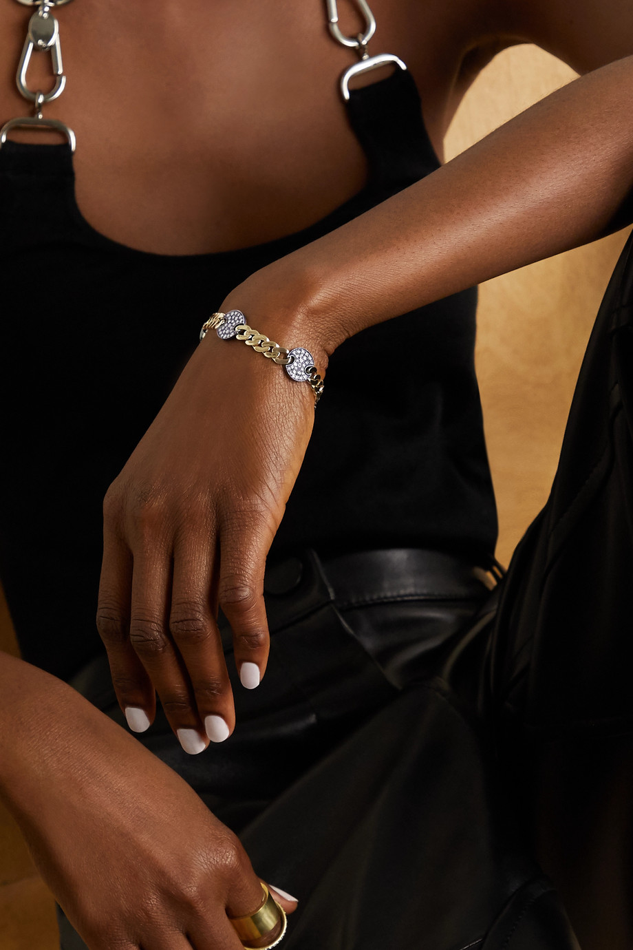 Sylva & Cie Disco 18-karat gold and sterling silver diamond bracelet