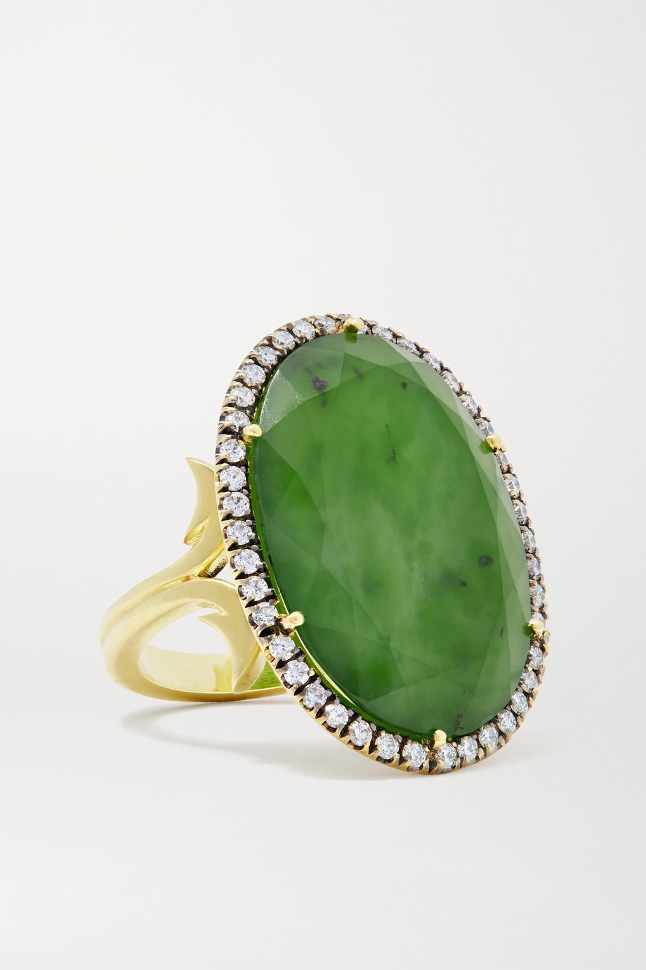 Sylva & Cie 18-karat gold, jade and diamond ring
