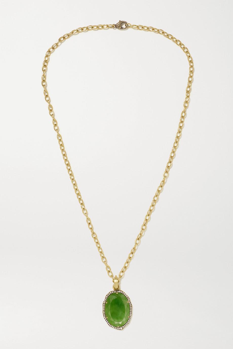 Sylva & Cie 18-karat gold, jade and diamond necklace