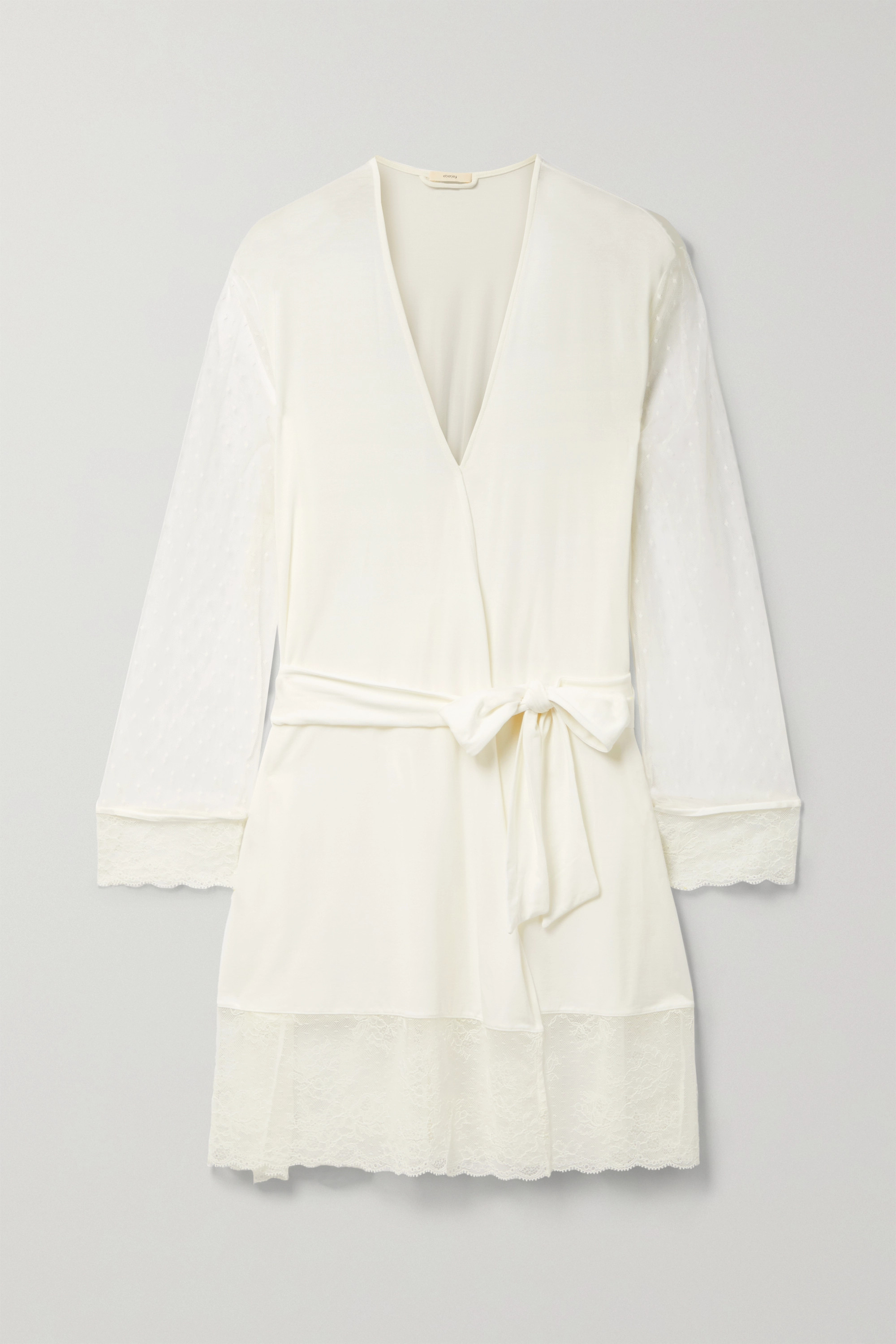 Eberjey IONA LOVE ME LACE-TRIMMED POINT D'ESPRIT TULLE AND STRETCH-MODAL ROBE