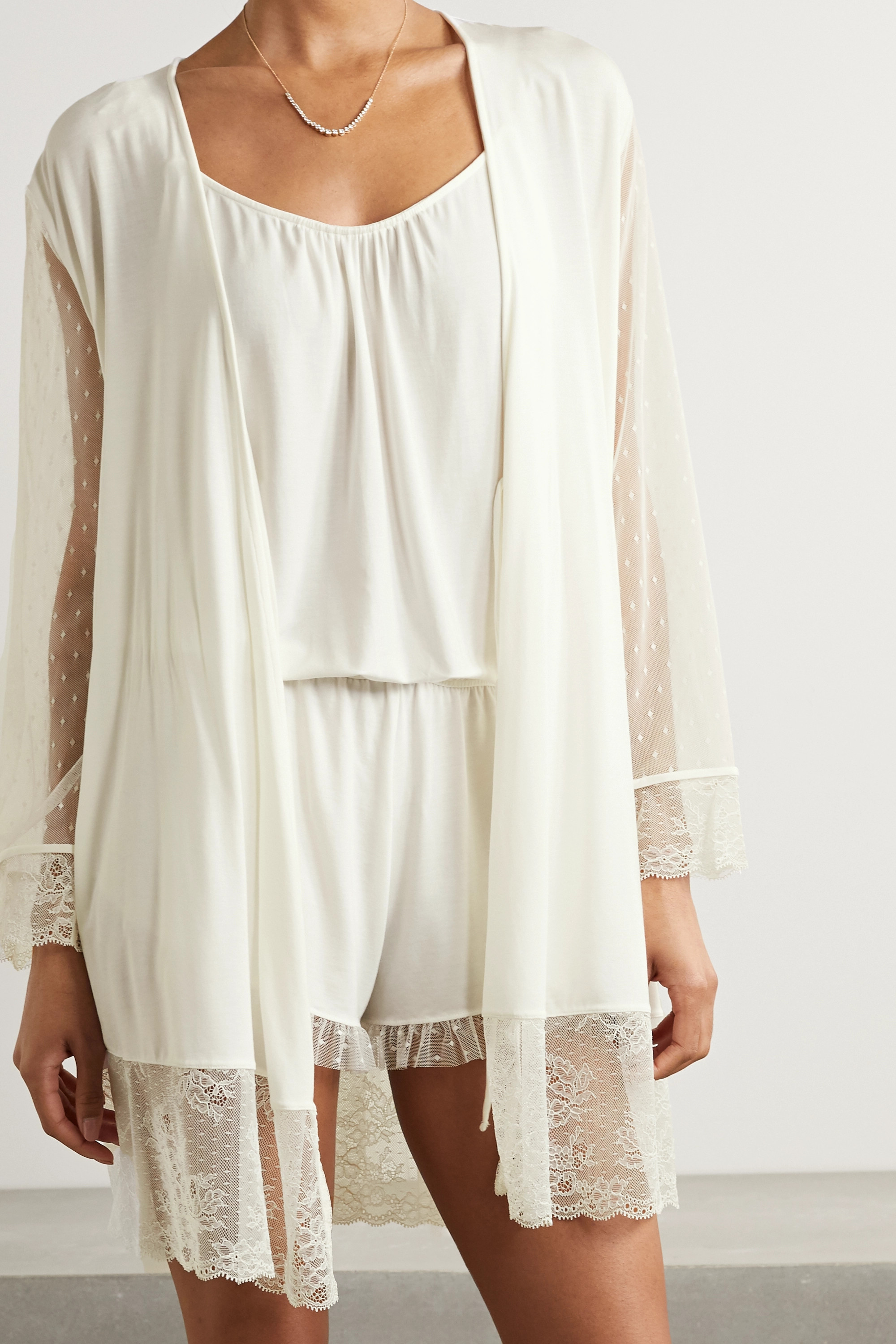 EBERJEY Robes IONA LOVE ME LACE-TRIMMED POINT D'ESPRIT TULLE AND STRETCH-MODAL ROBE