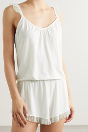 Eberjey Iona point d'esprit tulle-trimmed stretch-modal playsuit