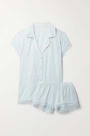 Eberjey Iona point d'esprit tulle-trimmed stretch-modal pajama set