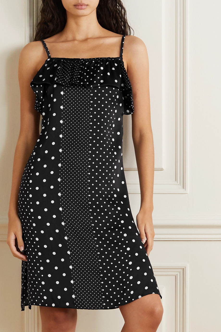 ELSE Ruffled polka-dot silk-satin chemise