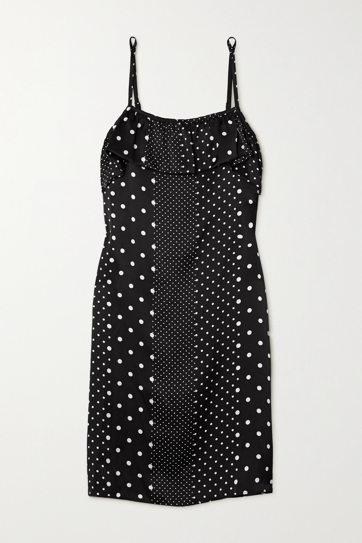 ELSE Ruffled polka-dot silk-satin chemise