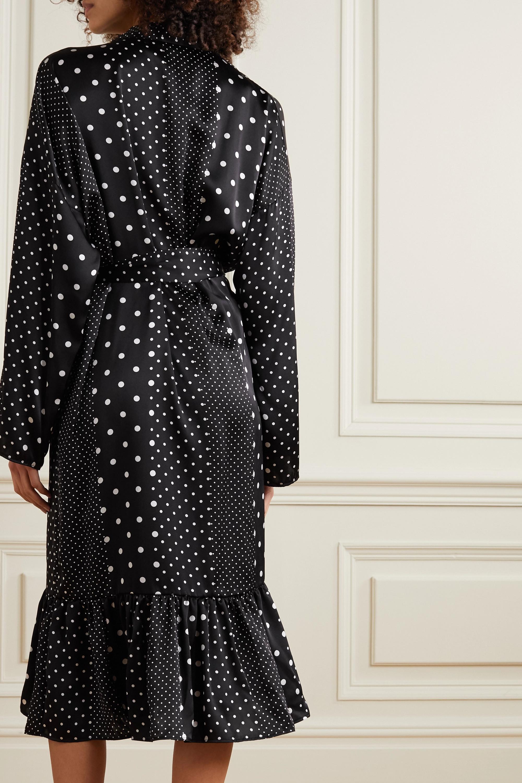 ELSE Belted tiered polka-dot silk-satin robe