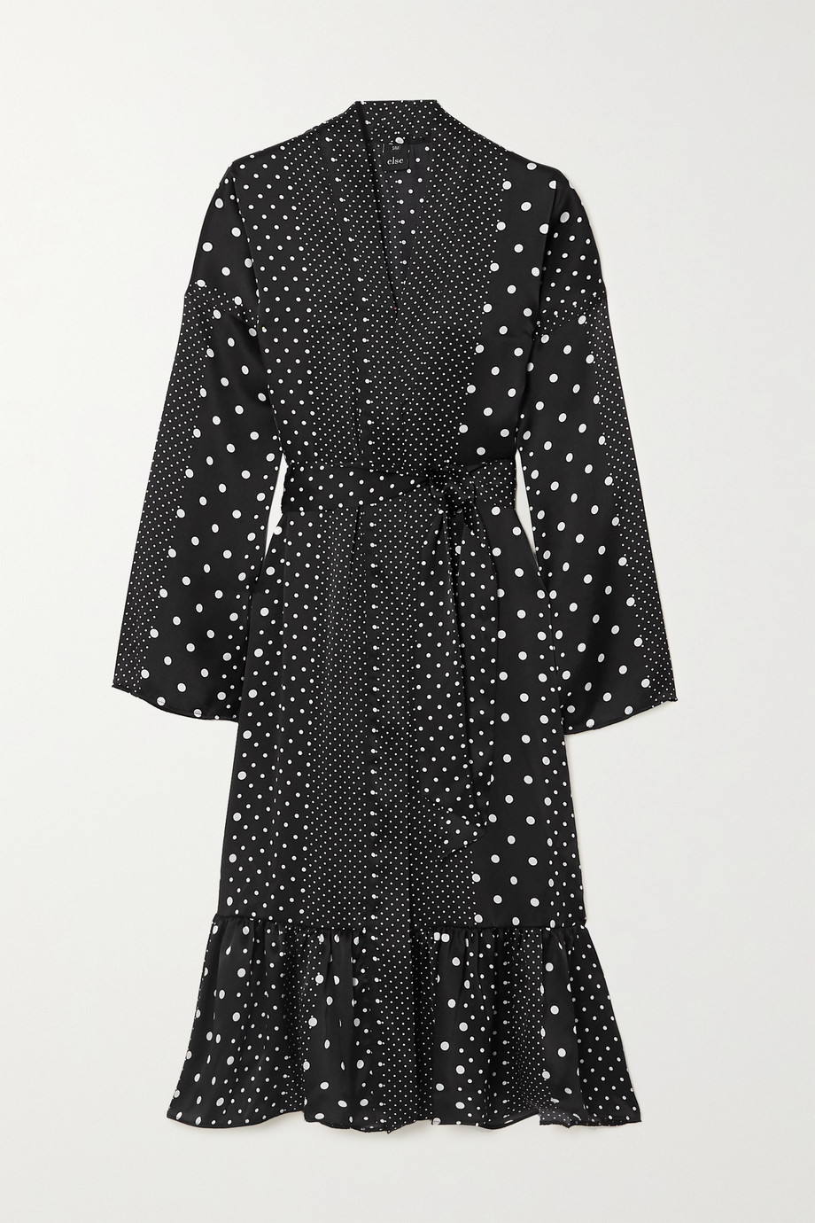 ELSE Belted tiered polka-dot silk-satin robe