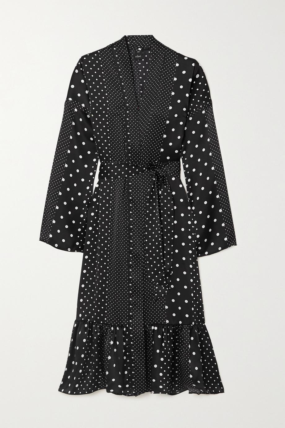 ELSE 配腰带层接式波点丝缎长袍
