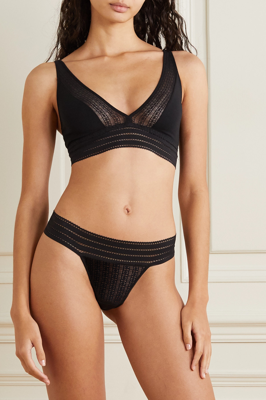 ELSE Jolie stretch-mesh and organic cotton-jersey soft-cup triangle bra
