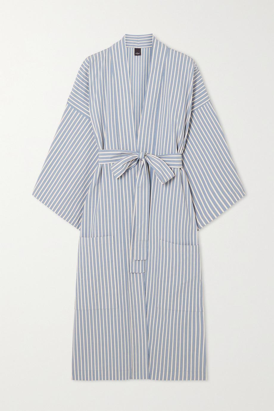 ELSE Peignoir en popeline de coton à rayures et à ceinture Hamptons