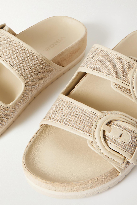 Vince Glyn leather-trimmed linen slides