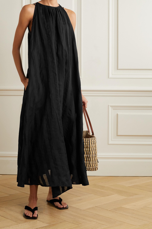 Evarae + NET SUSTAIN Bastia asymmetric striped linen-jacquard dress