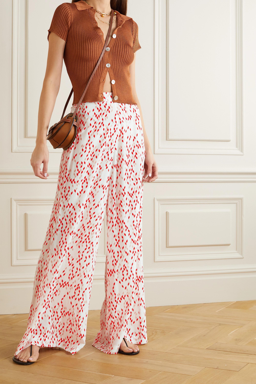 Evarae + NET SUSTAIN Aprilla printed organic silk wide-leg pants