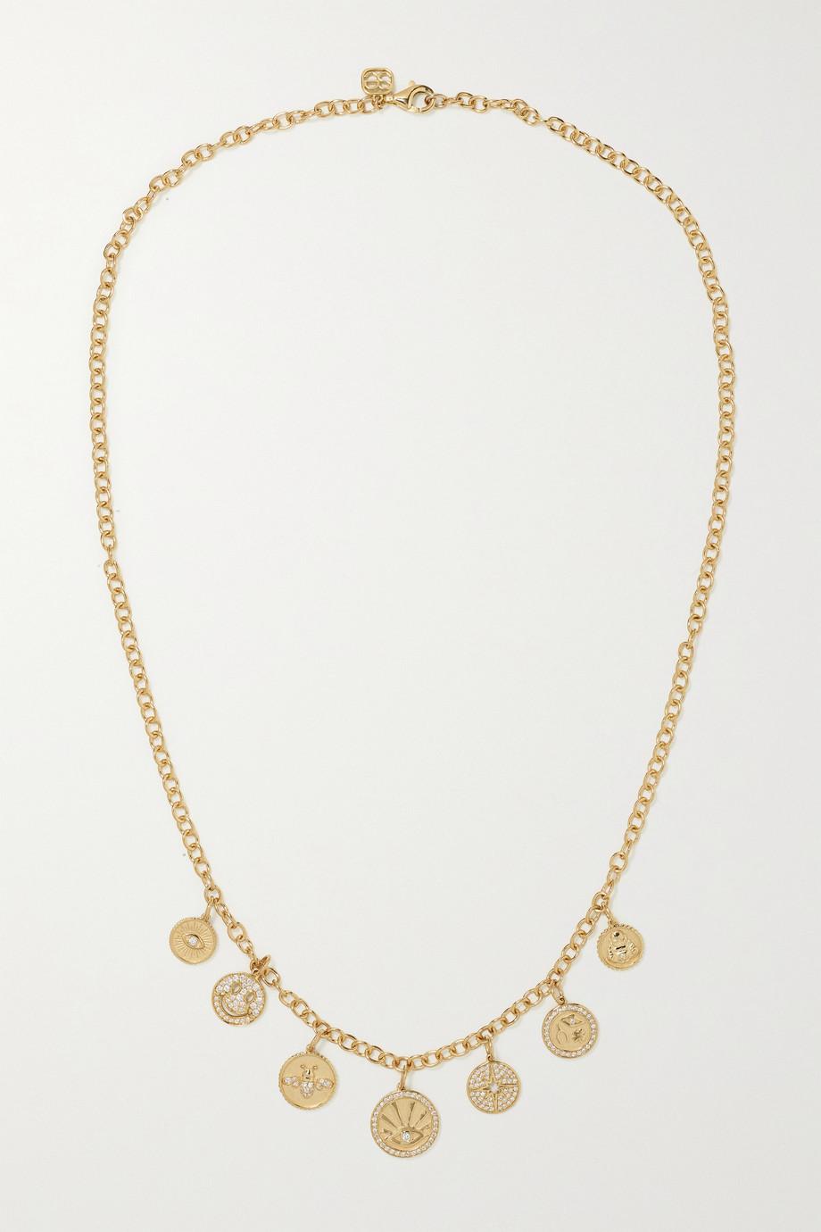 Sydney Evan Medallions 14-karat gold diamond necklace