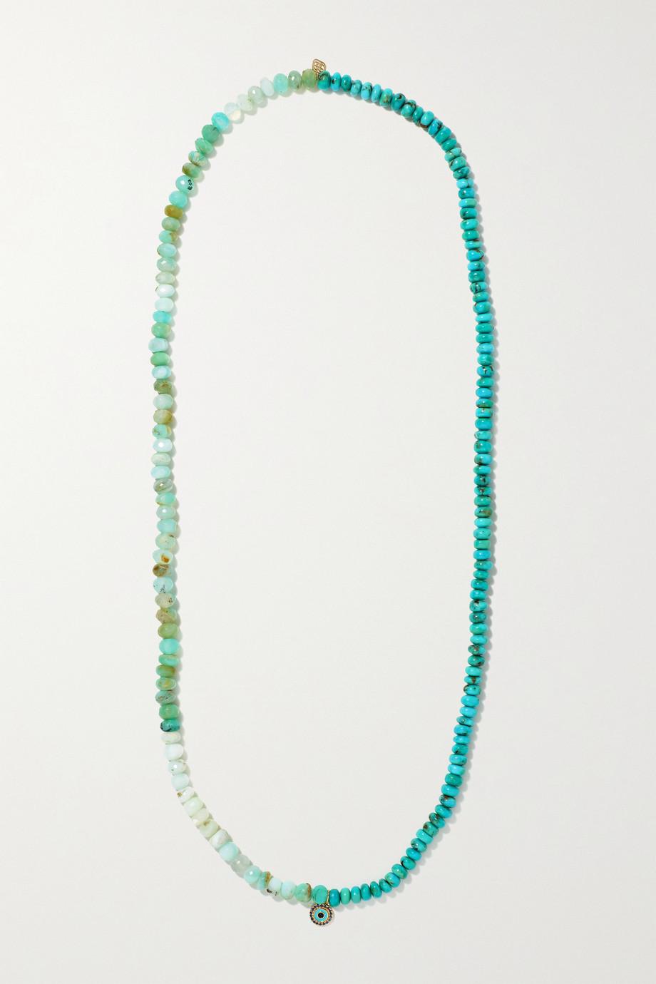 Sydney Evan Evil Eye 14-karat gold multi-stone necklace