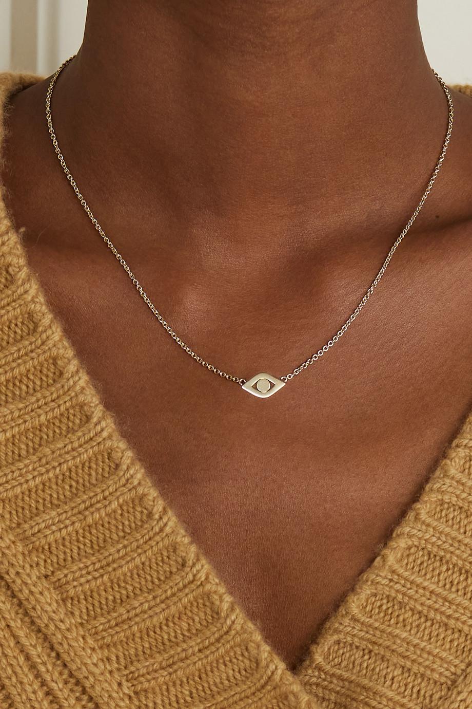 Sydney Evan Large Evil Eye 14-karat gold necklace