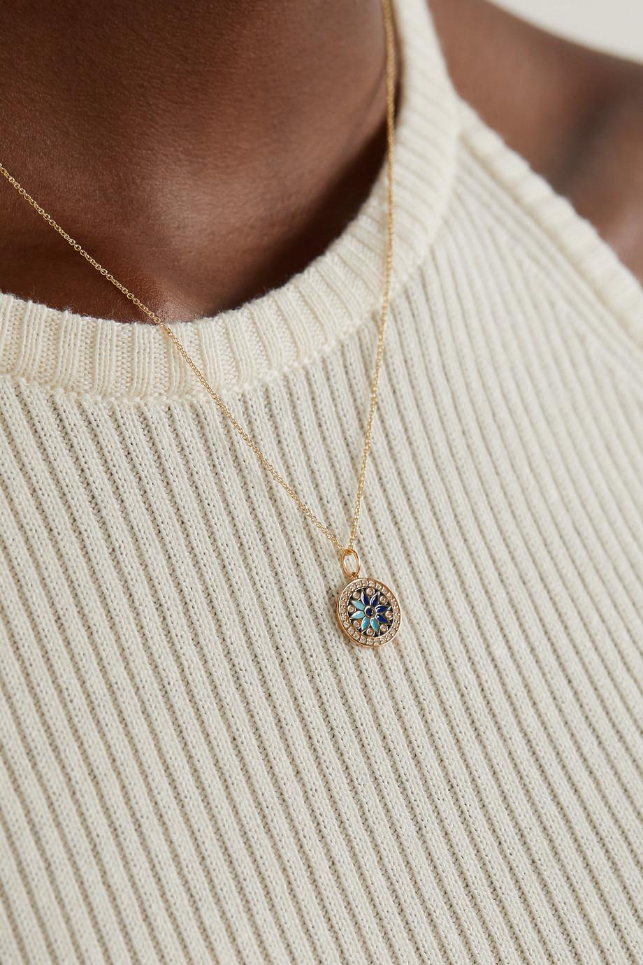 Sydney Evan Small 14-karat gold, enamel, diamond and sapphire necklace