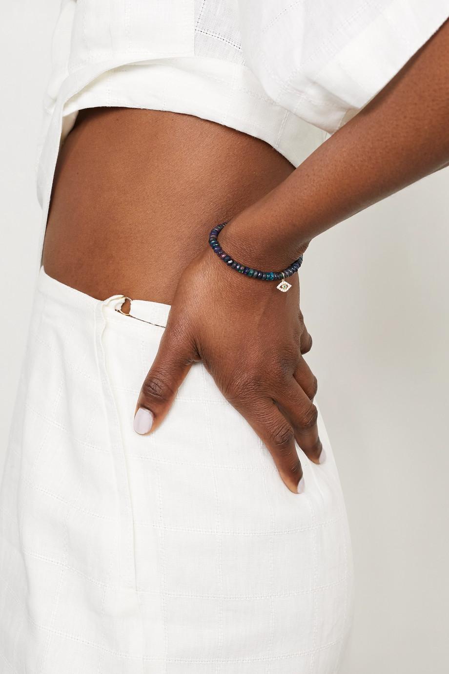 Sydney Evan Evil Eye Armband mit mehreren Steinen und Details aus 14 Karat Gold