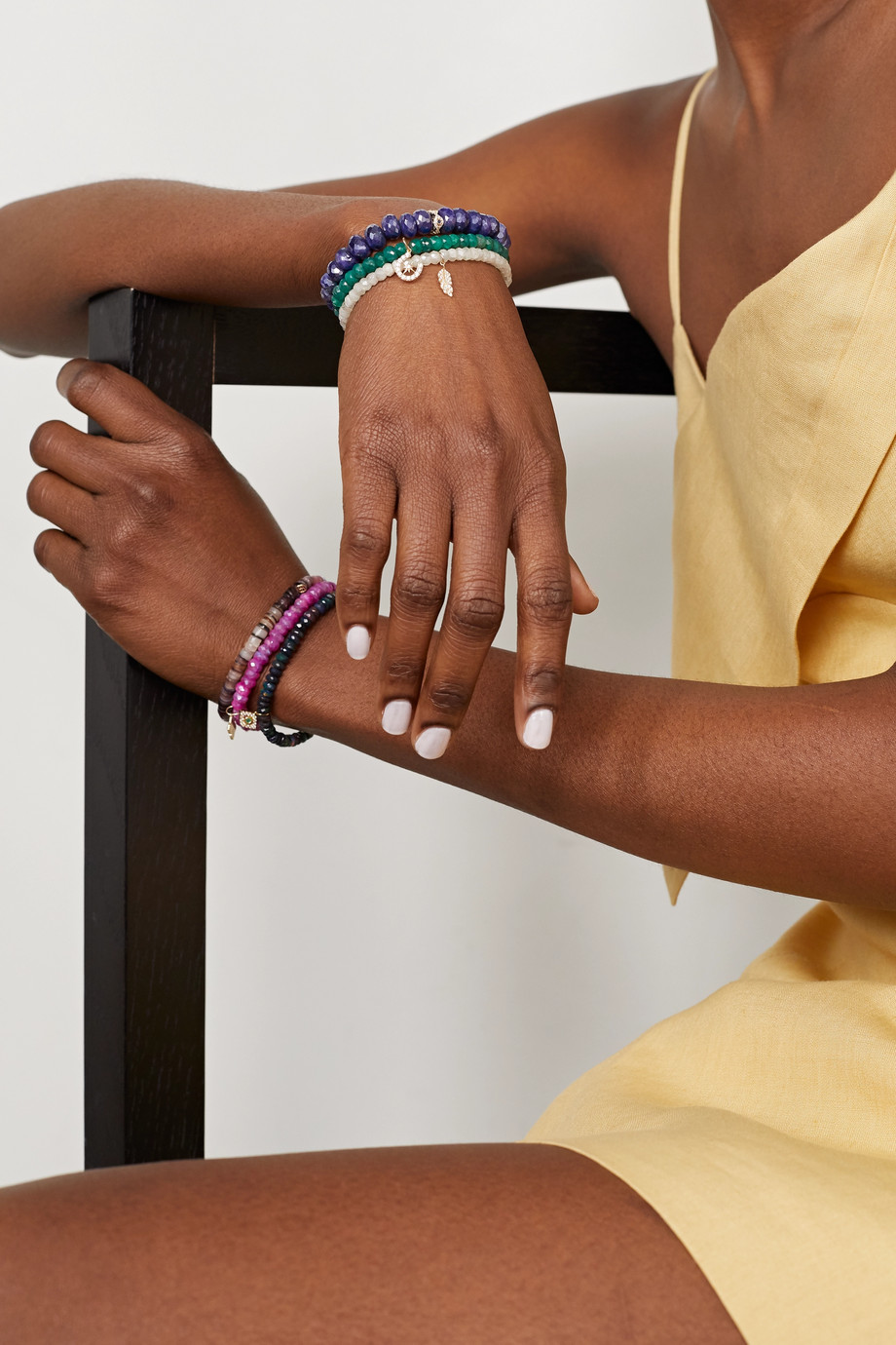 Sydney Evan Evil Eye Eternity 14-karat gold multi-stone bracelet