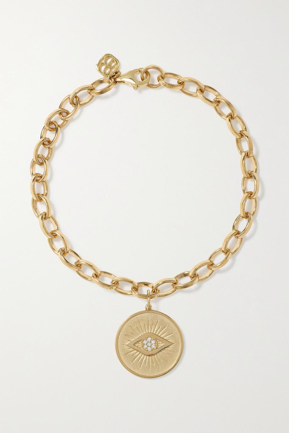 Sydney Evan Evil Eye Coin 14-karat gold diamond bracelet