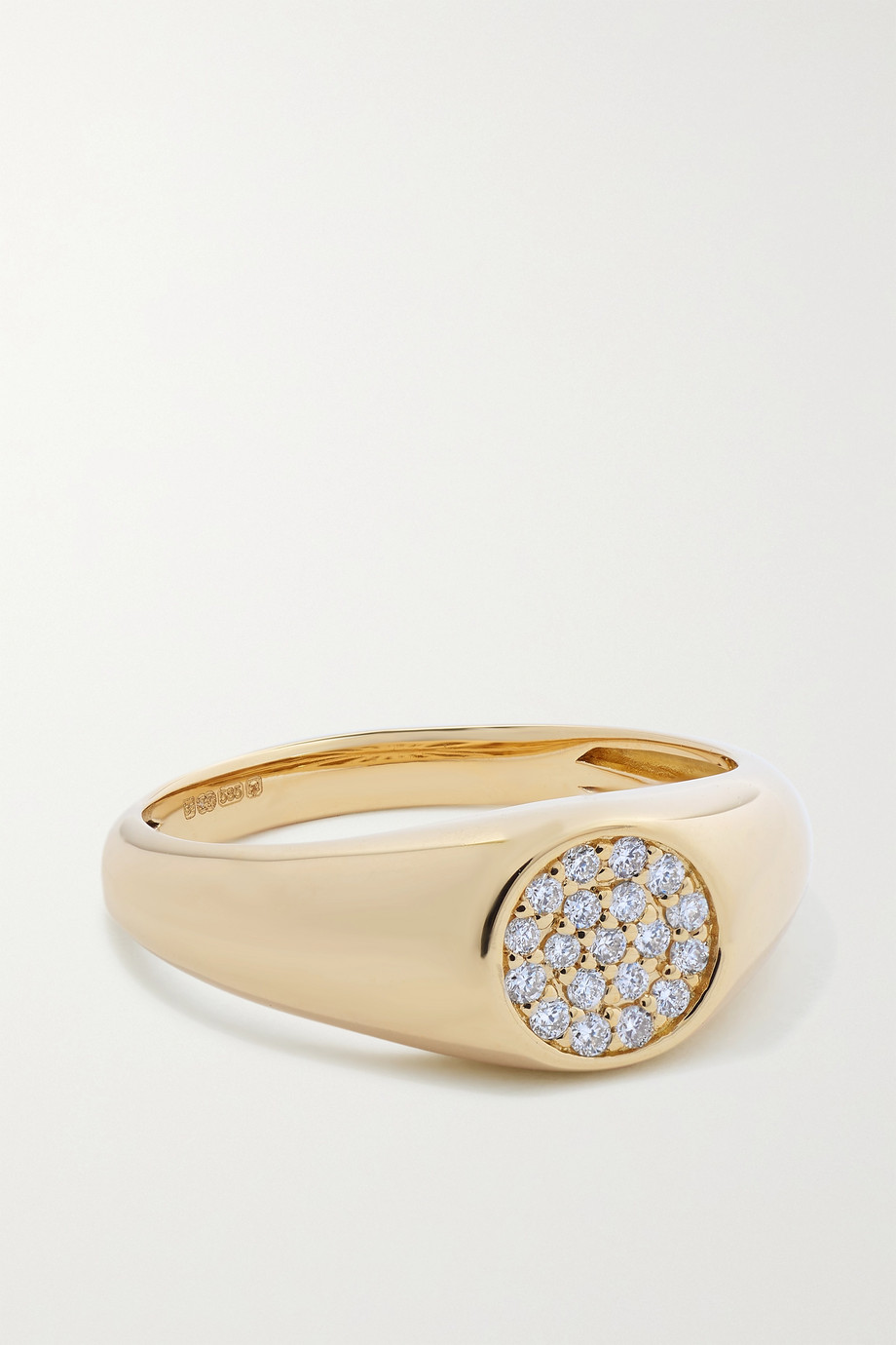 Sydney Evan Mini 14-karat gold diamond signet ring