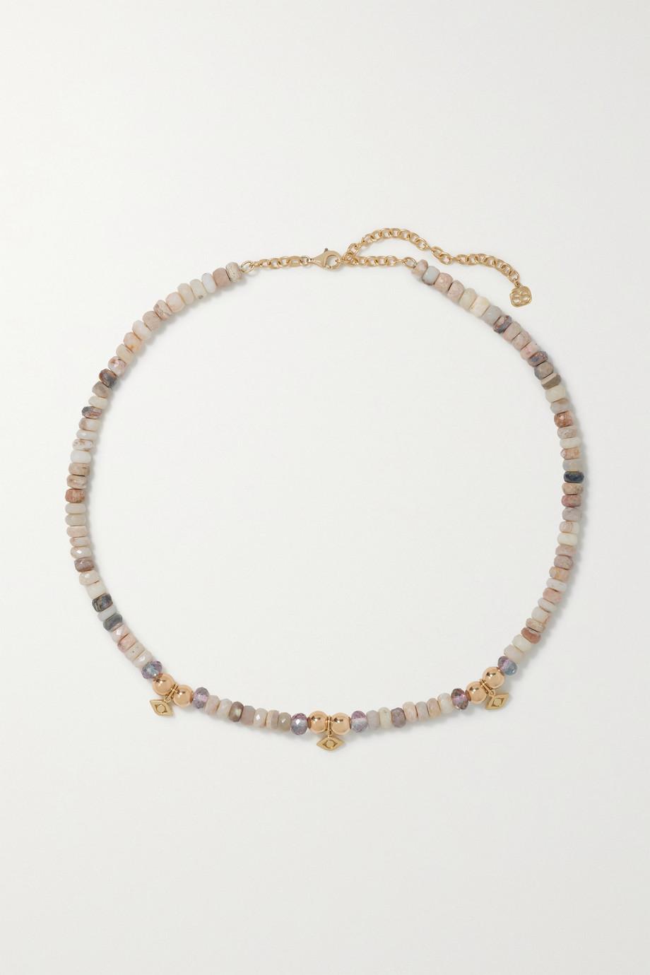 Sydney Evan Eternity small 14-karat gold opal and quartz necklace
