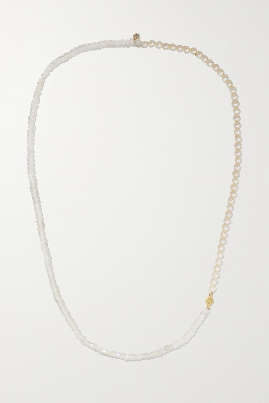 Sydney Evan 14-karat gold, moonstone and pearl necklace