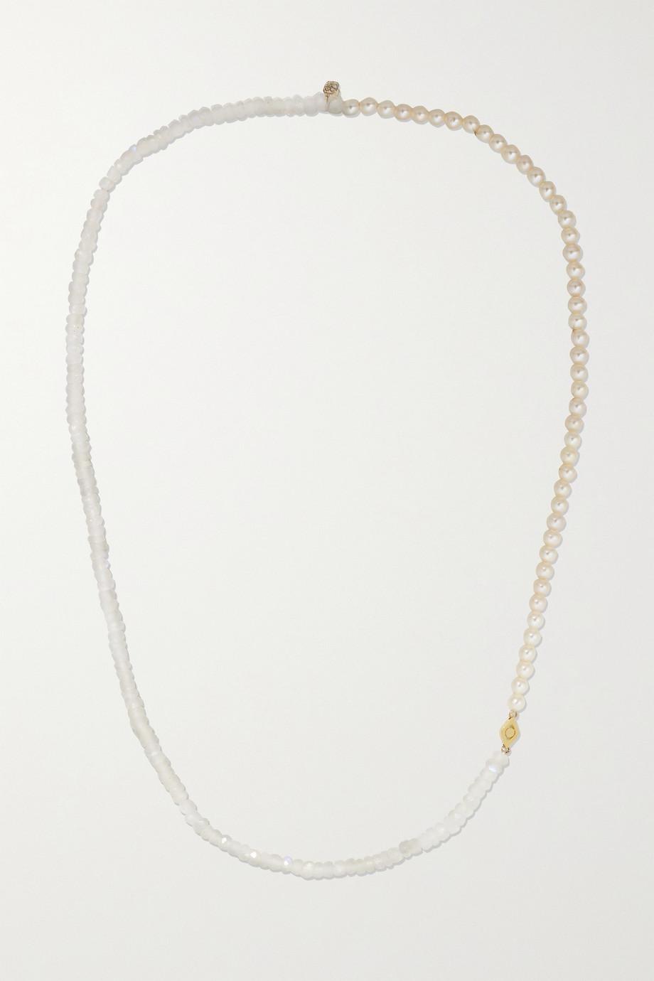 Sydney Evan Collier en or 14 carats, pierres de lune et perles