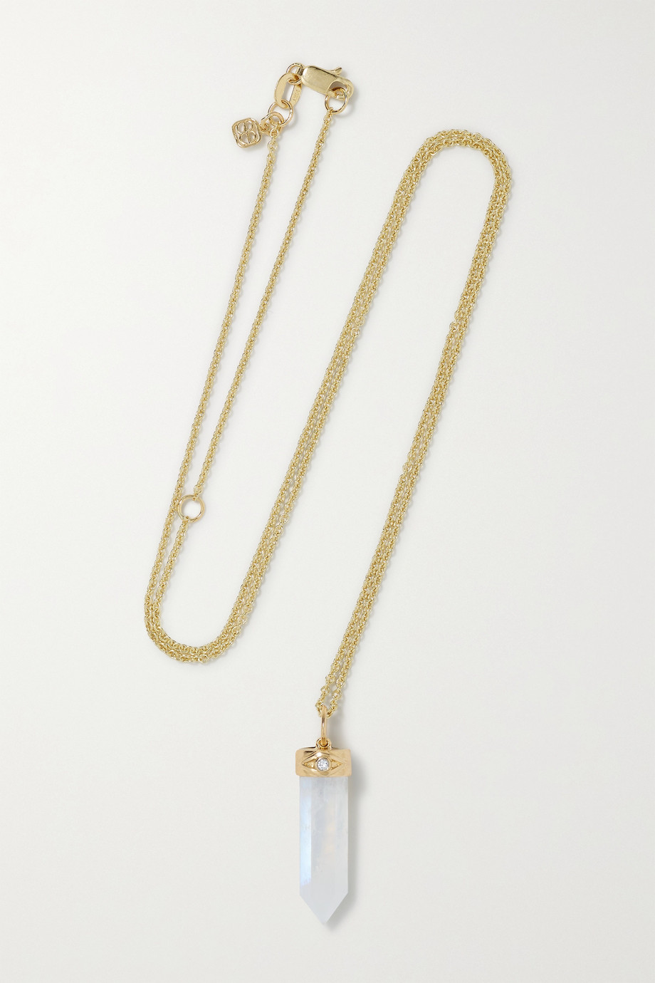 Sydney Evan 14-karat gold, moonstone and diamond necklace