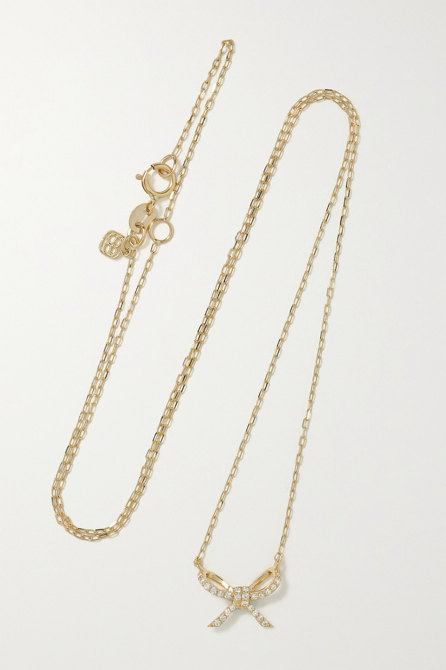 Sydney Evan Bow 14-karat gold diamond necklace