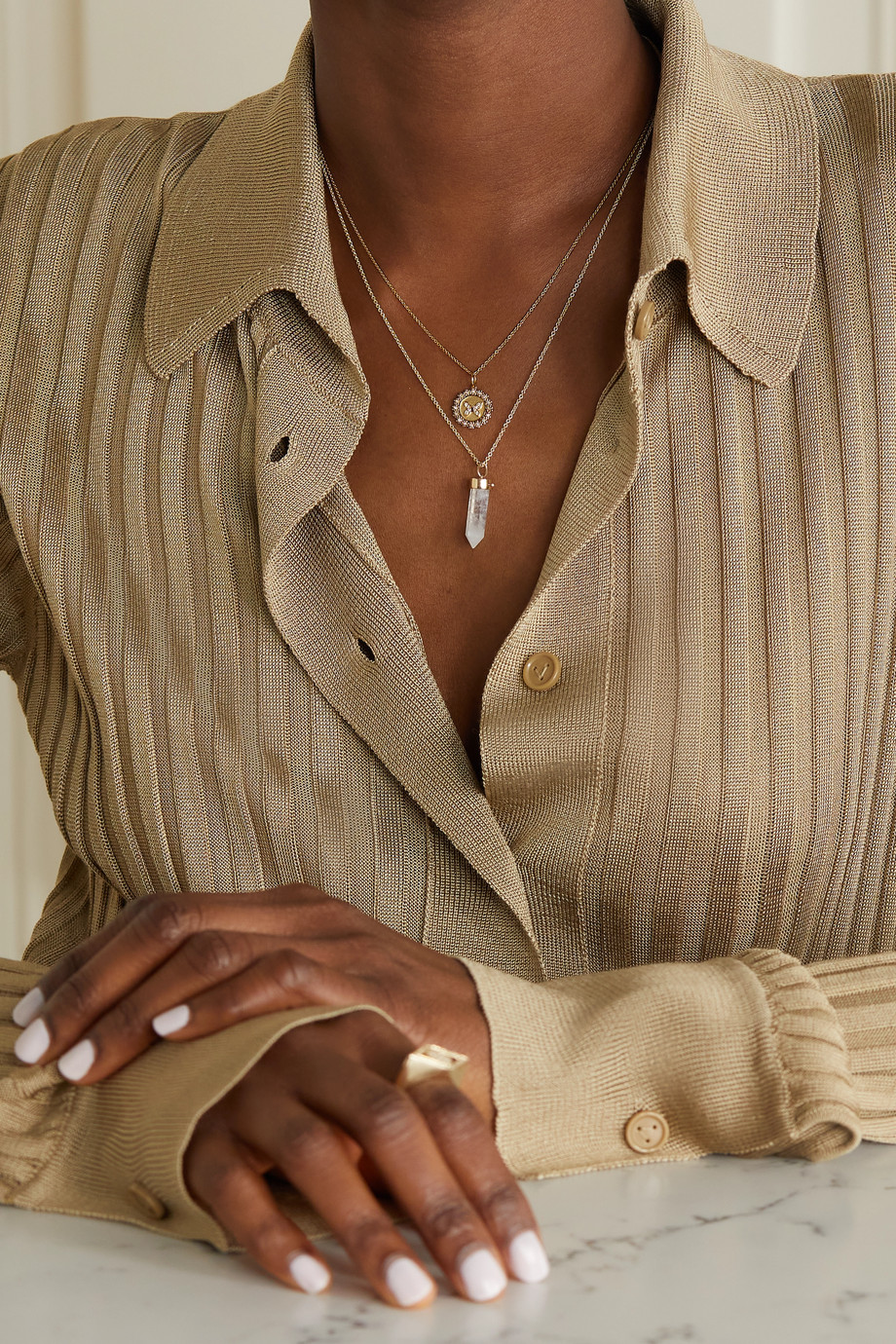 Sydney Evan Butterfly Coin 14-karat gold diamond necklace