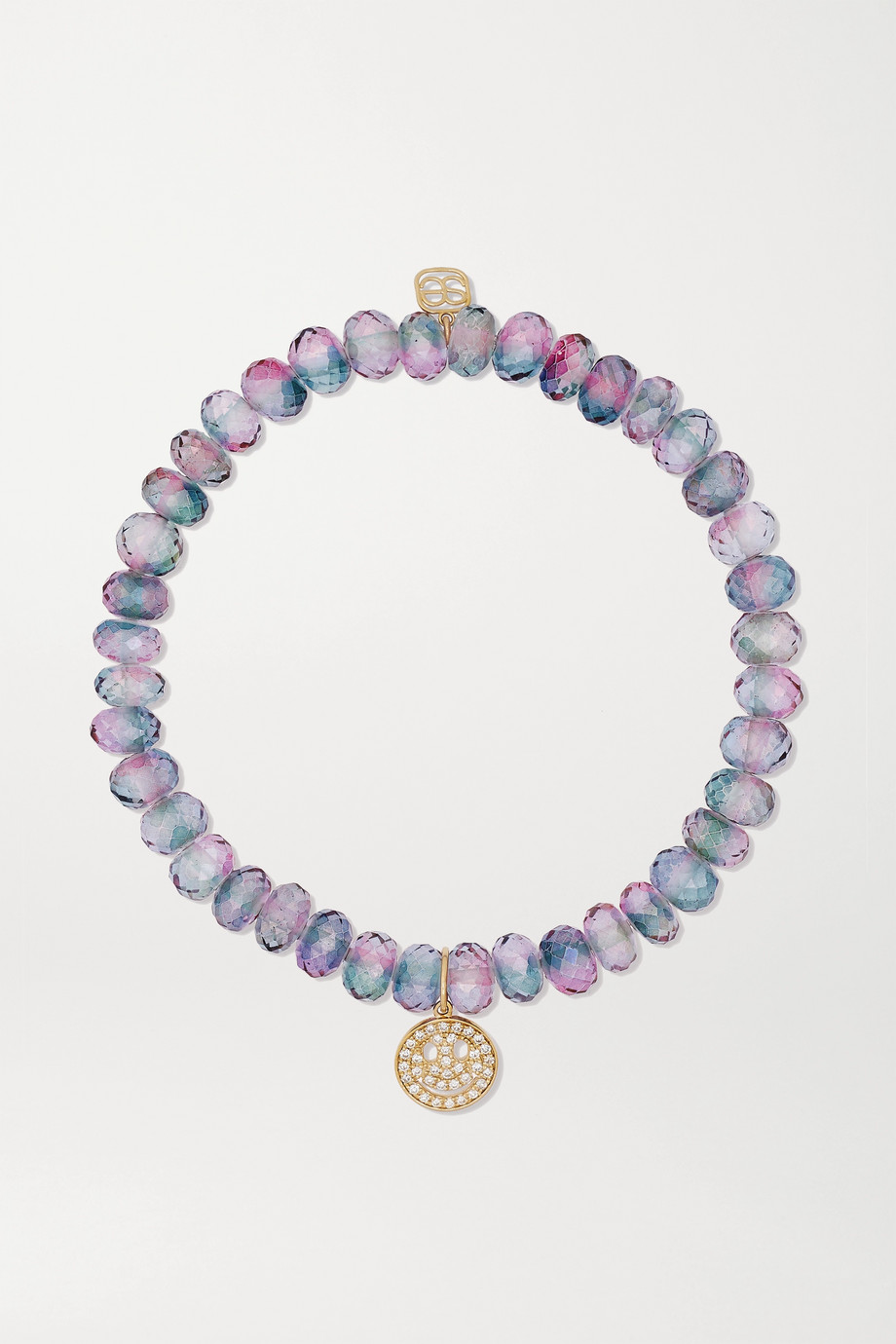 Sydney Evan Bracelet en or 14 carats, quartz et diamants Small Happy Face