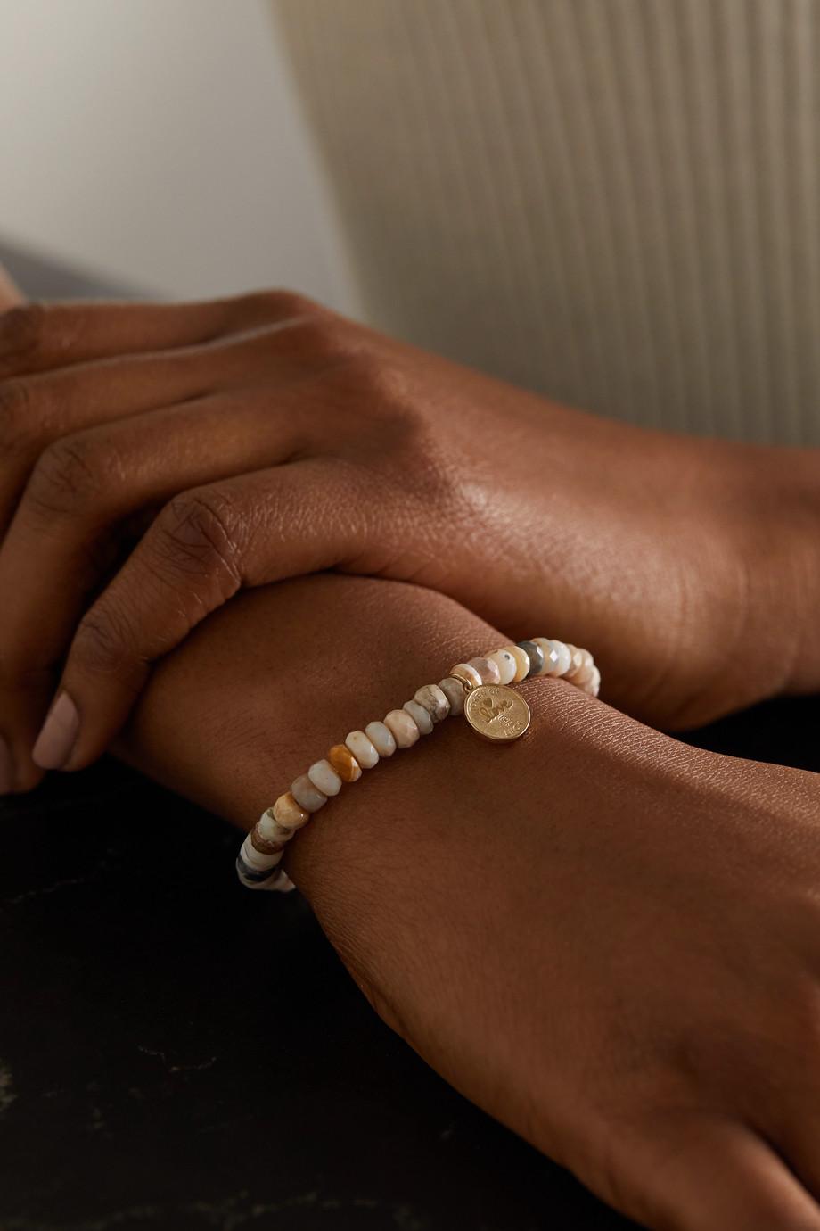 Sydney Evan Tiny Luck and Protection 14-karat gold, moonstone and diamond bracelet