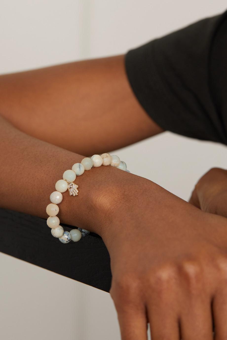 Sydney Evan Hamsa 14-karat gold, opal and diamond bracelet