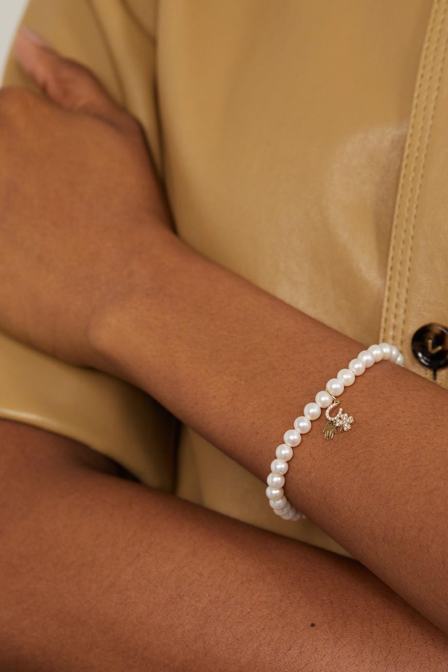 Sydney Evan Luck and Protection Armband mit Perlen, Diamanten und Details aus 14 Karat Gold