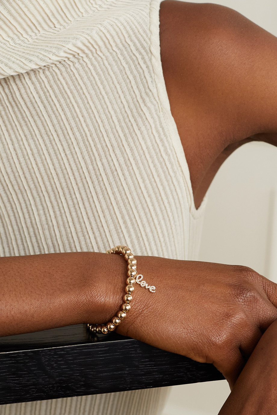 Sydney Evan Small Love 14-karat gold diamond bracelet