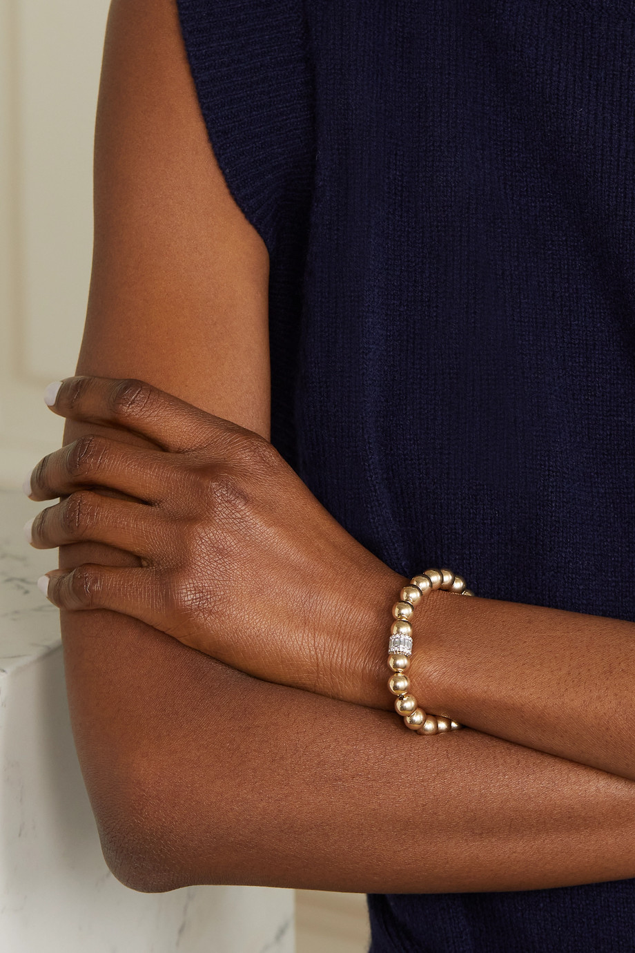 Sydney Evan 14-karat gold diamond bracelet