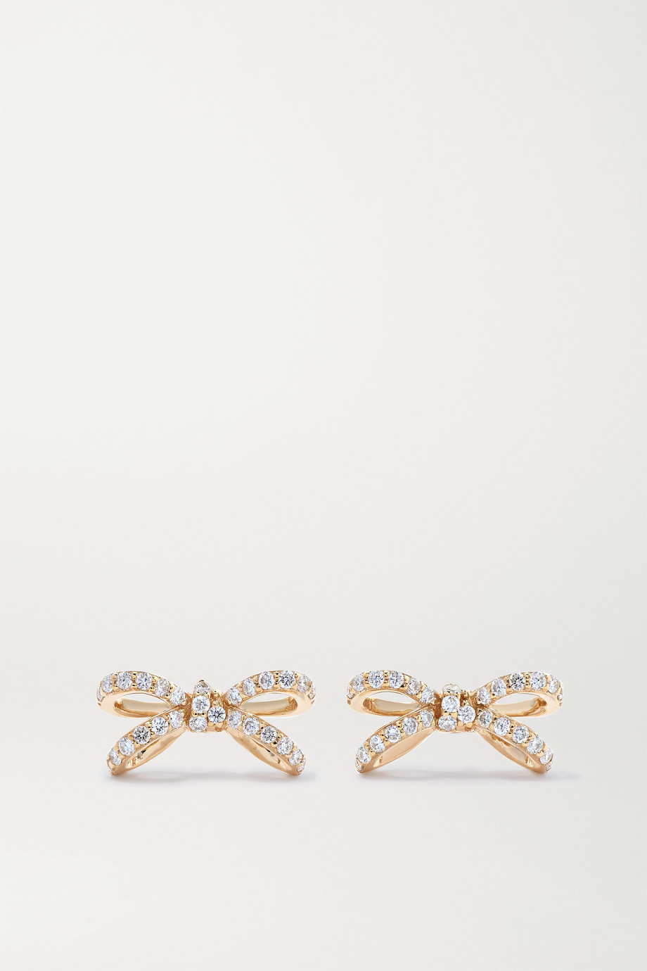 Sydney Evan Small Bow 14K 黄金钻石耳钉