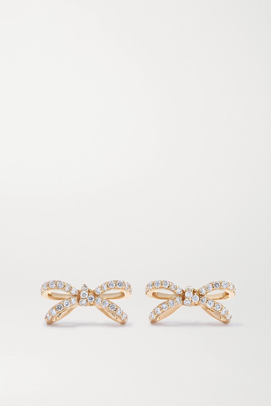 Sydney Evan Small Bow 14-karat gold diamond earrings
