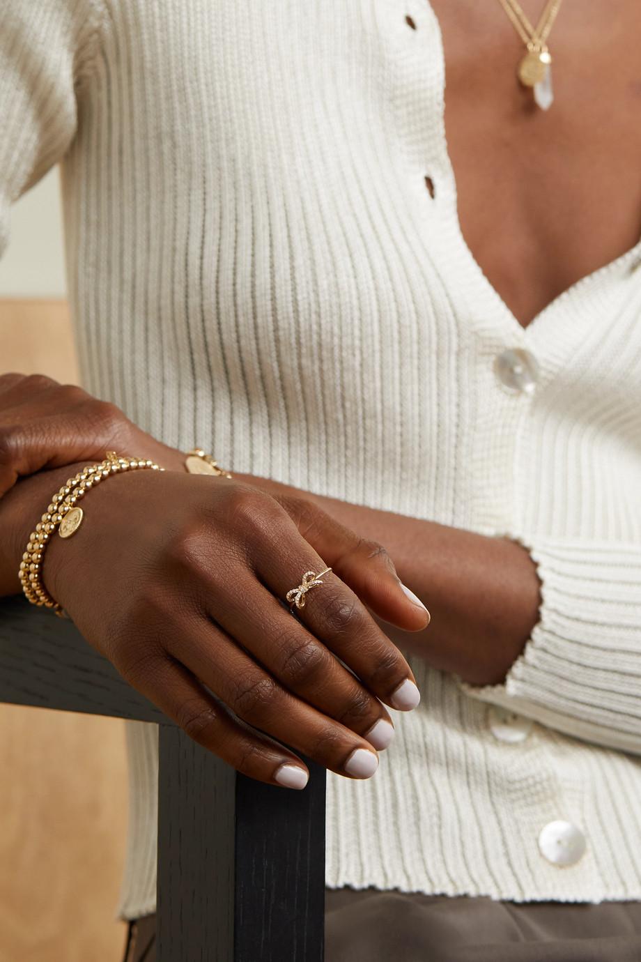 Sydney Evan Small Bow 14-karat gold diamond ring