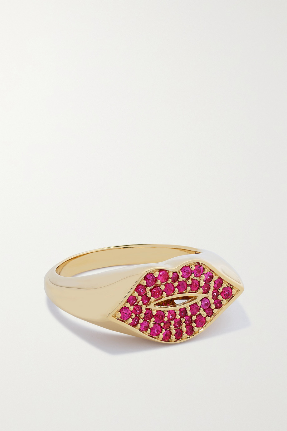 Sydney Evan Lips 14-karat gold ruby signet ring