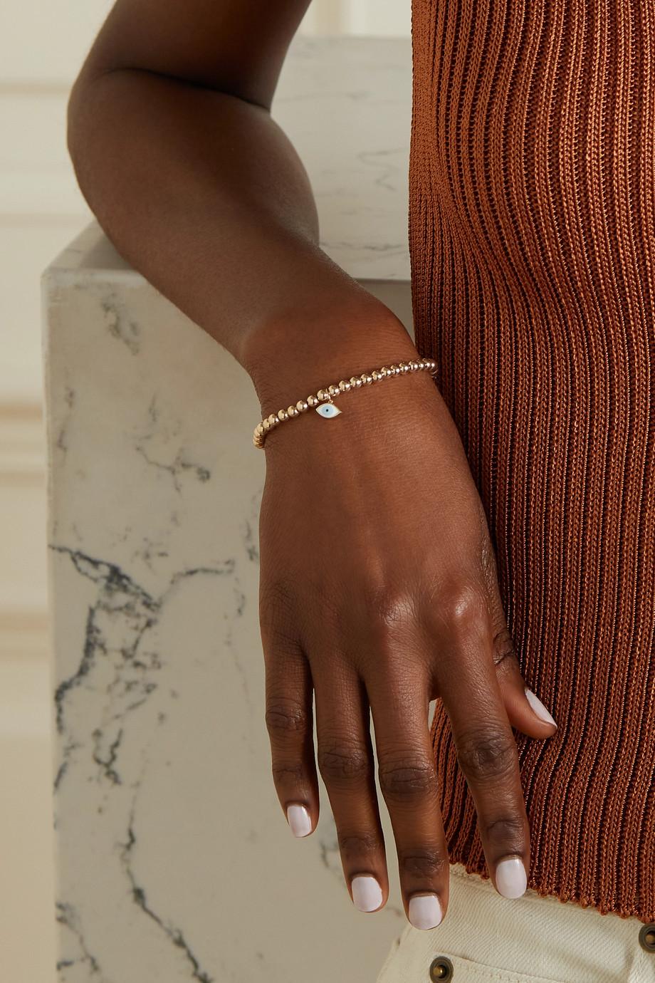 Sydney Evan Evil Eye 14-karat gold and enamel bracelet