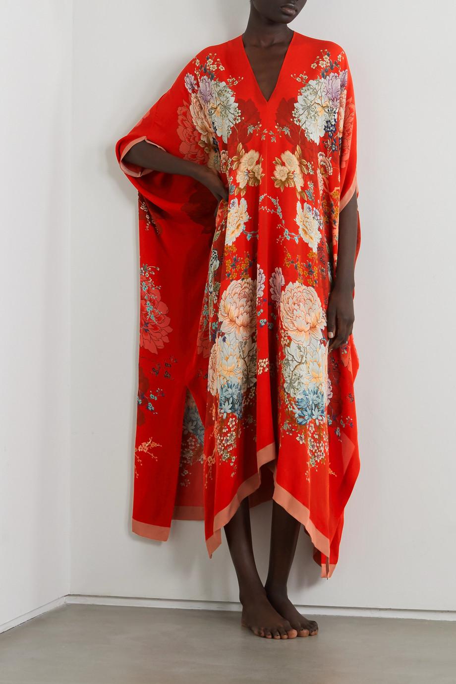 MENG Floral-print silk-georgette kaftan