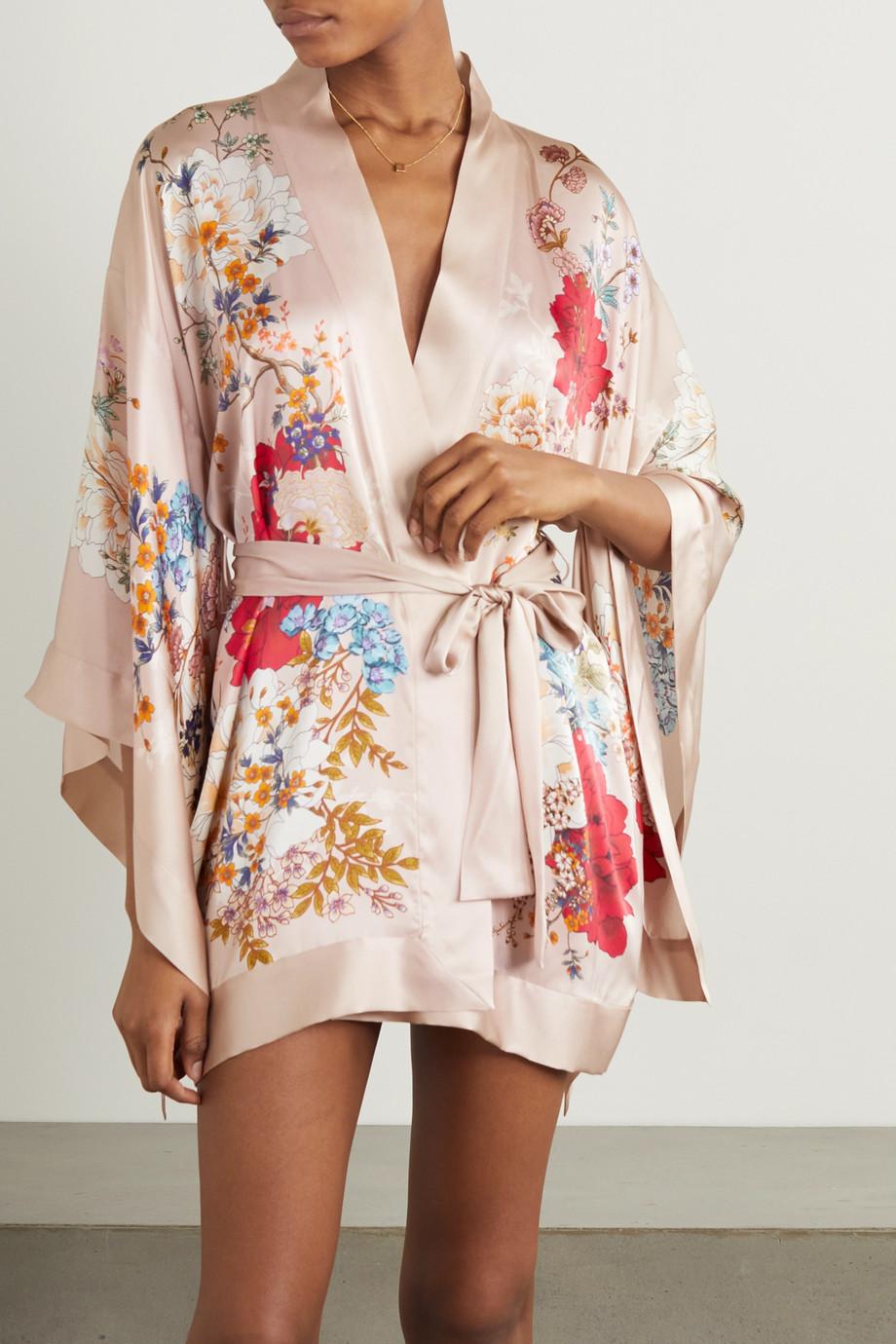 MENG Belted floral-print silk-satin robe