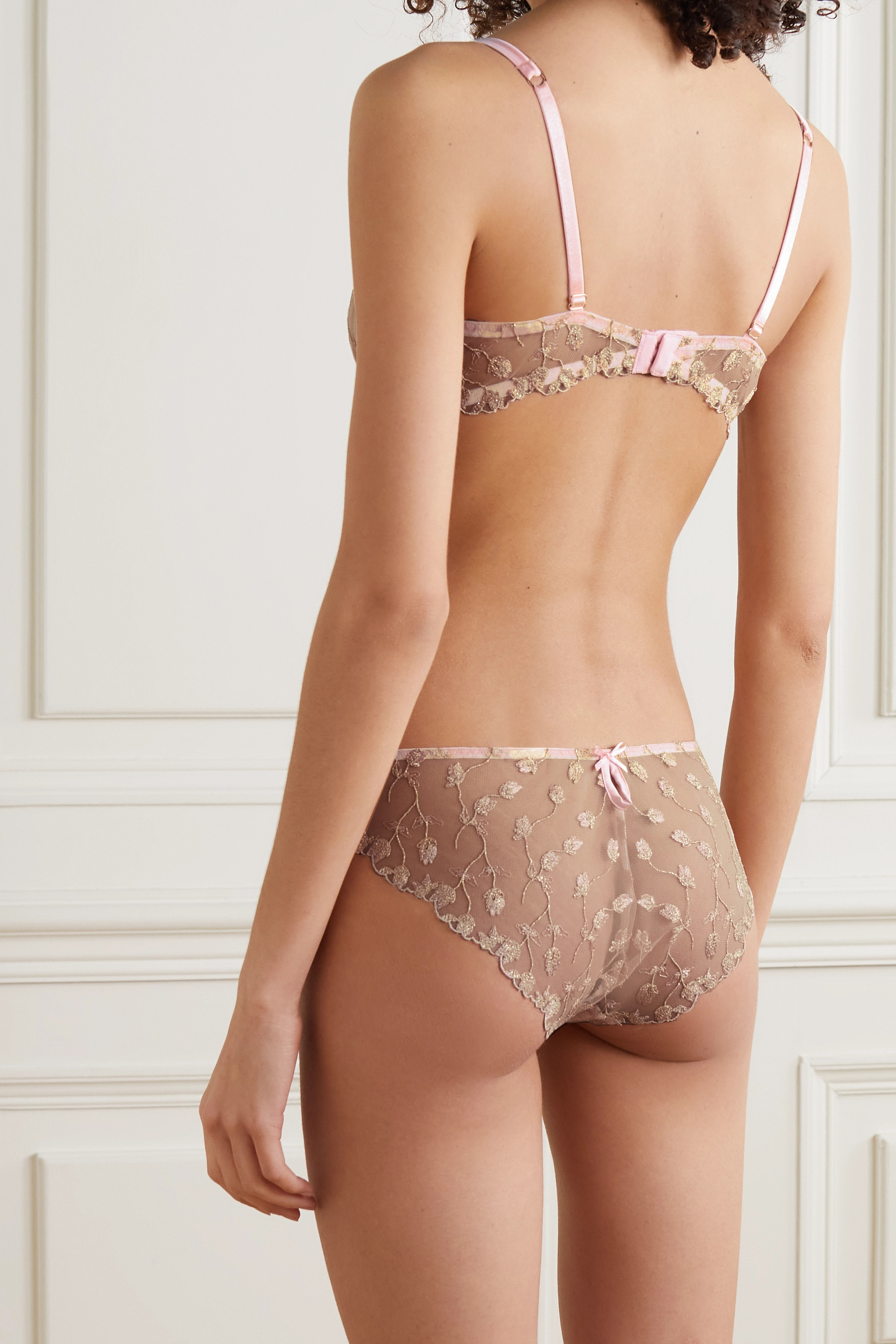 Coco de Mer Elizabeth satin-trimmed embroidered tulle underwired soft-cup bra