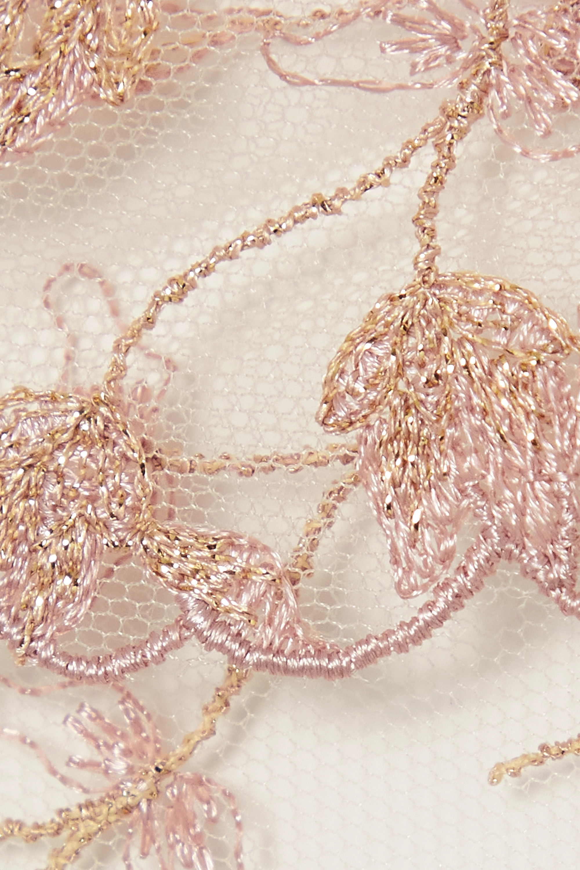 Coco de Mer Elizabeth satin-trimmed cutout embroidered tulle bodysuit
