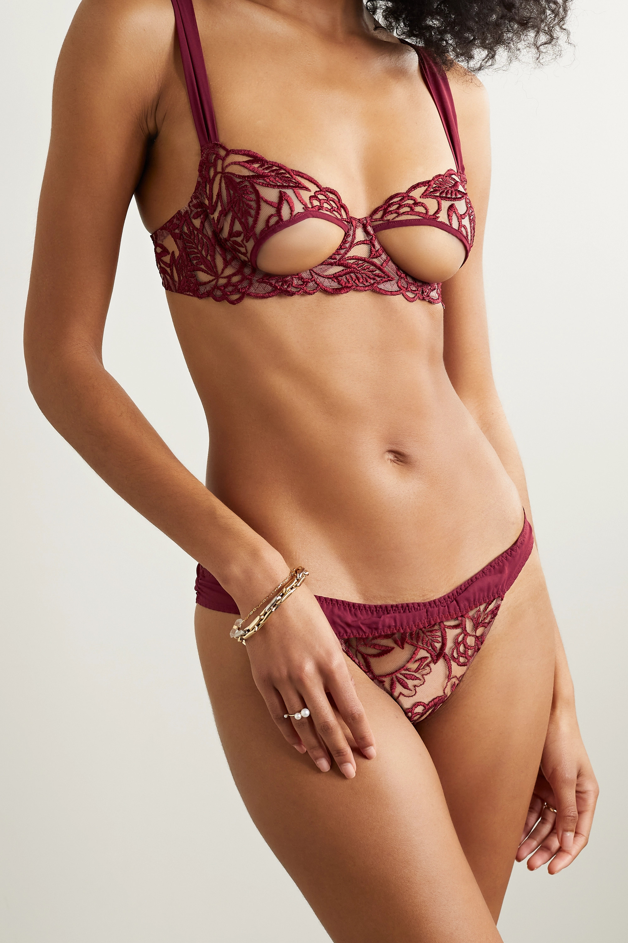 Coco de Mer Aurora georgette-trimmed cutout embroidered tulle underwired soft-cup bra