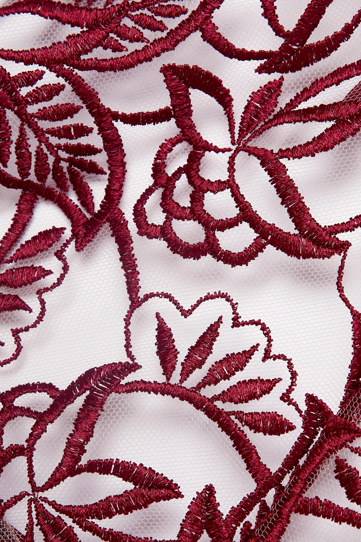 Coco de Mer Aurora georgette-trimmed cutout embroidered tulle halterneck bodysuit